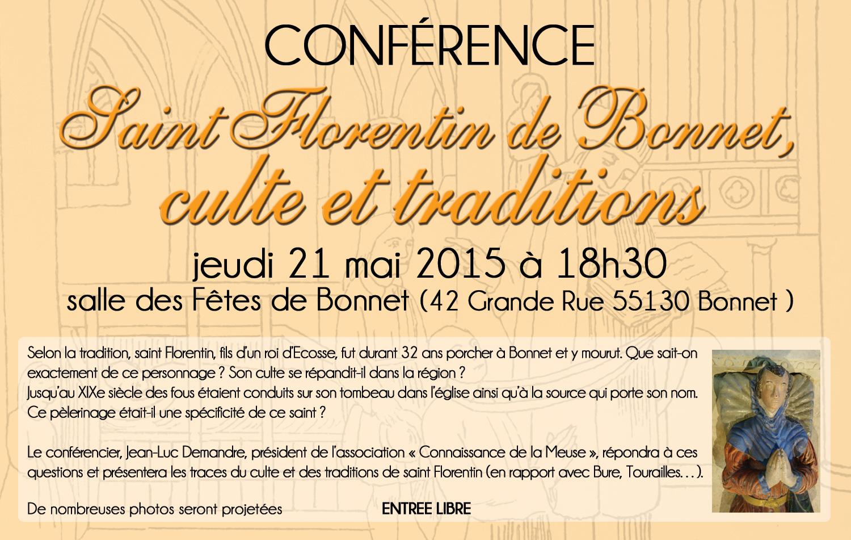Conférence Saint Florentin de Bonnet, jeudi 21 mai à 18h30