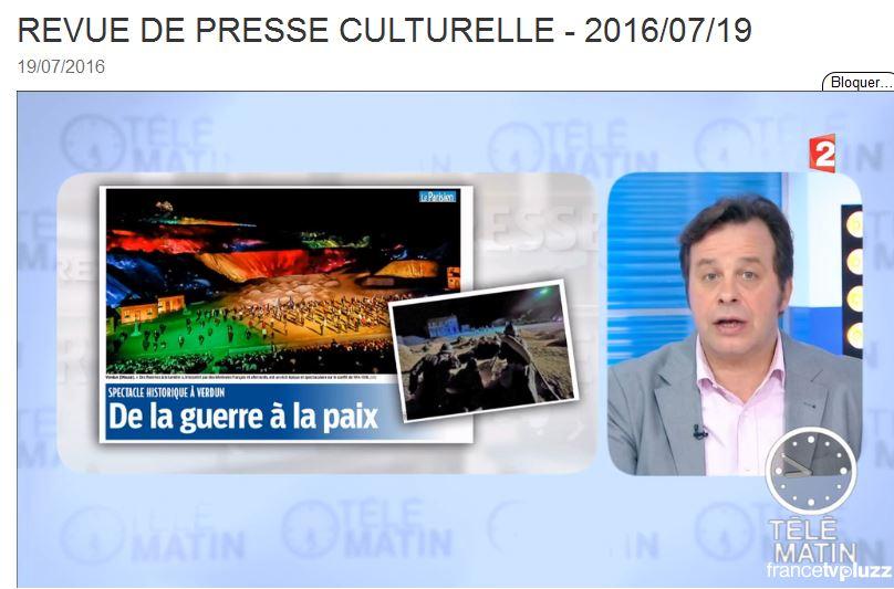 France 2 Télématin revue de presse culturelle du 19 juillet