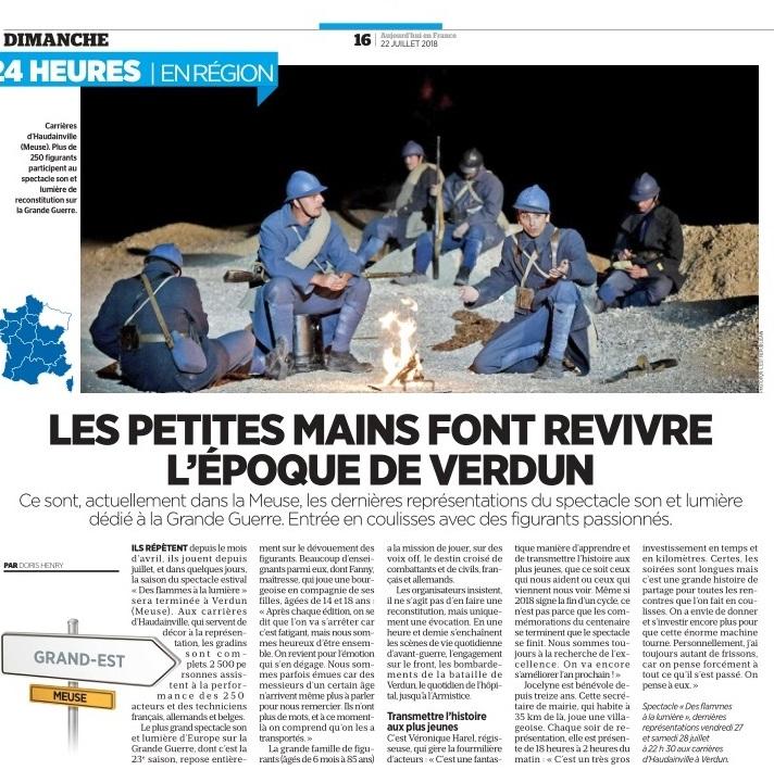 Parution Le Parisien Aujourd'hui en FRANCE du dimanche 22 juillet 2018 «Les petites mains font revivre l'époque de Verdun»