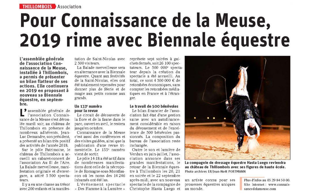 Pour Connaissance de la Meuse, 2019 rime avec Biennale équestre