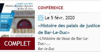 Conférence Histoire des palais de justice de Bar-Le-Duc  (5 février à 18h30, tribunal de Bar-le-Duc, place Saint-Pierre)