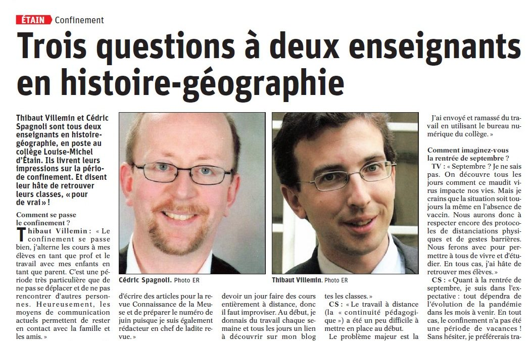 Trois questions à deux enseignants en histoire-géographie