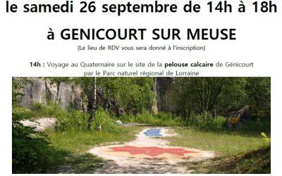 Connaissance de la Meuse vous propose une ballade découverte le samedi 26 septembre de 14h à 18h à GENICOURT SUR MEUSE