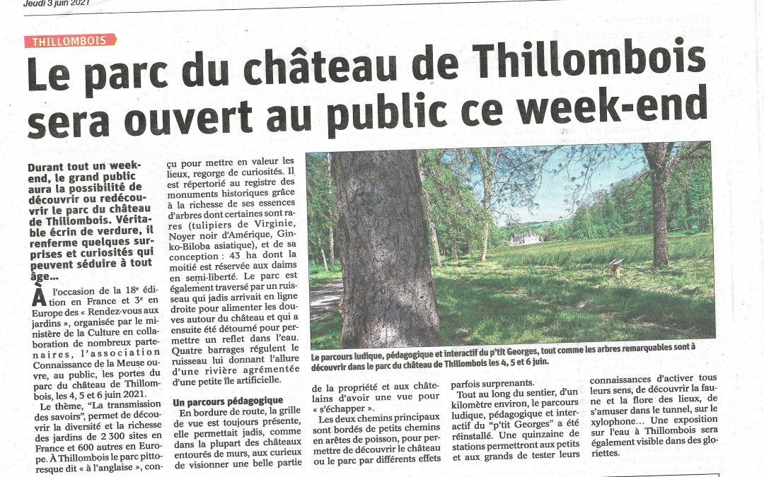 Le grand public aura la possibilité de découvrir ou redécouvrir le parc du château de Thillombois.