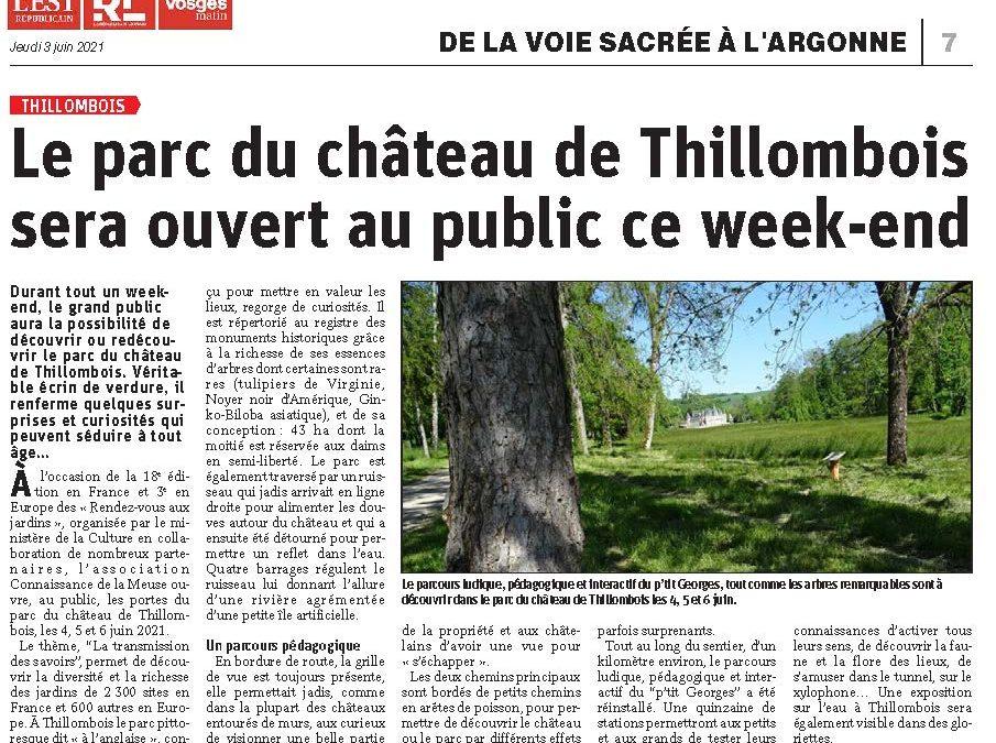 Revue de presse  : le parc du château de Thillombois sera ouvet au public ce week-end