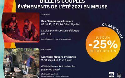 BILLETS COUPLES EVENEMENTS DE L'ETE EN  MEUSE