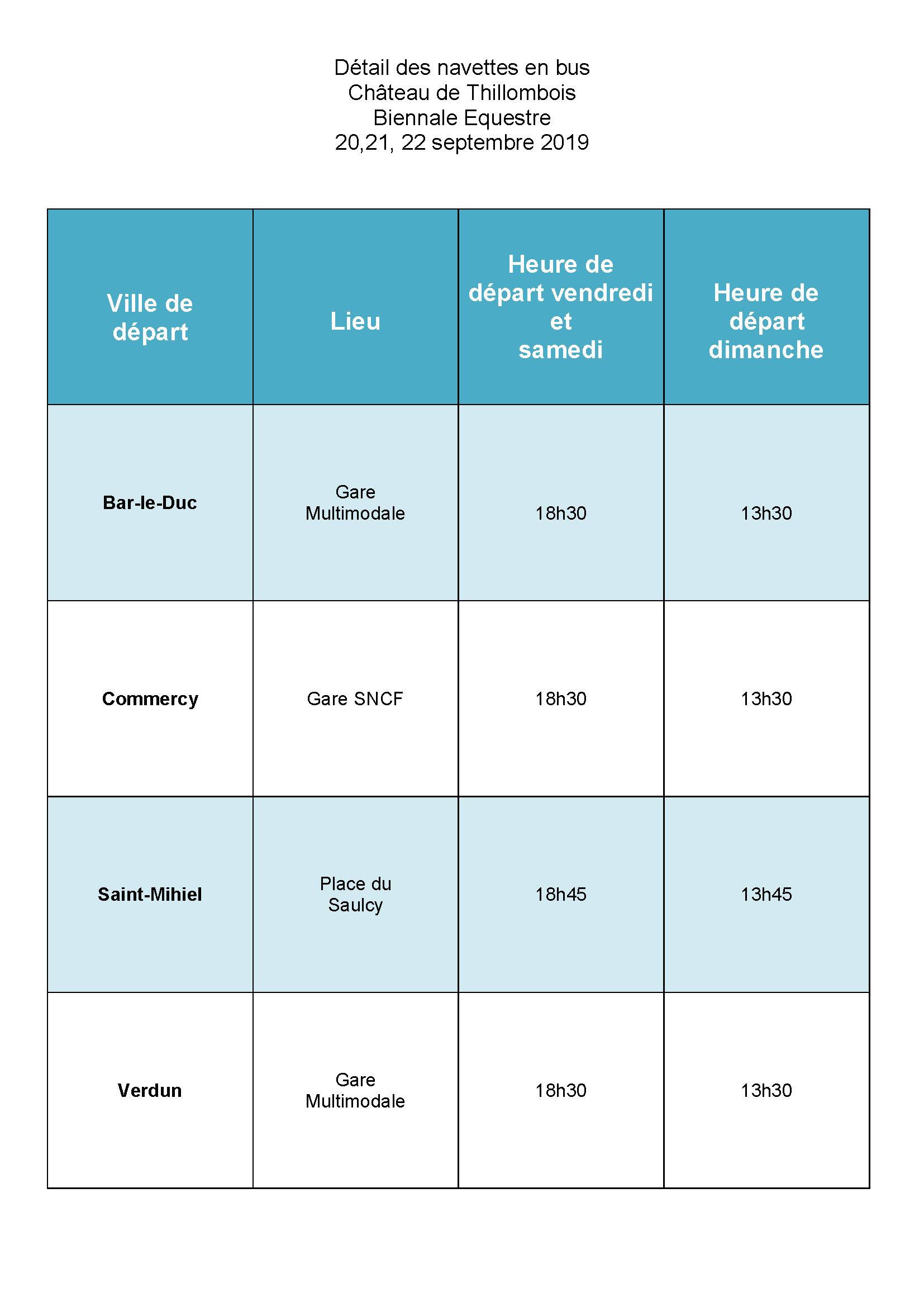 Détail des horaires, lieux, navettes en bus  biennale équestre  château de Thillombois 20 21 et 22 septembre 2019