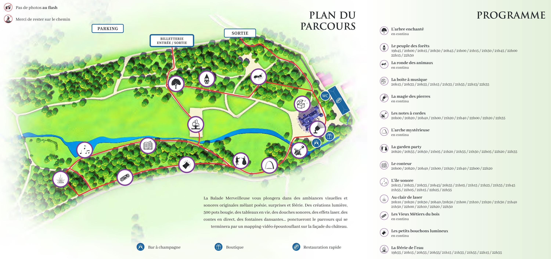Plan et programme du parcours La Balade Merveilleuse Thillombois 2021