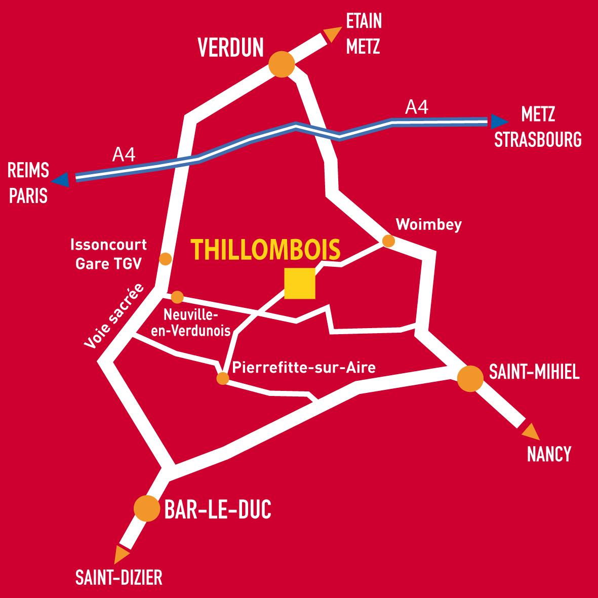 plan d'accès château de Thillombois